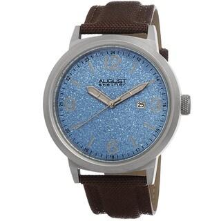August Steiner Men's Quartz Sparkling Matte Dial Canvas Blue Strap Watch