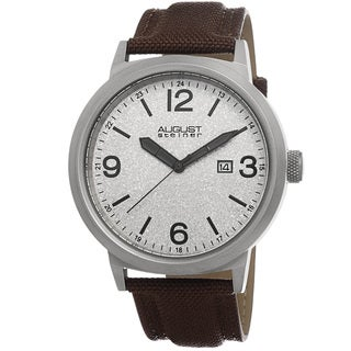 August Steiner Men's Quartz Sparkling Matte Dial Canvas Brown Strap Watch