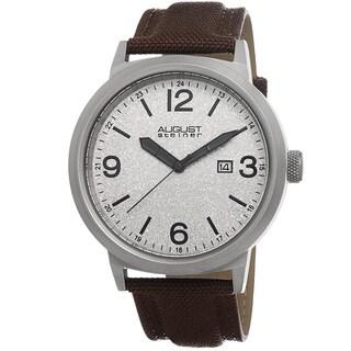 August Steiner Men's Quartz Sparkling Matte Dial Canvas Brown Strap Watch