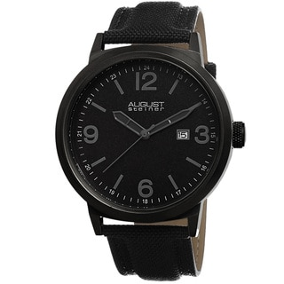August Steiner Men's Quartz Sparkling Matte Dial Canvas Black Strap Watch