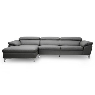 Baxton Studio Voight Gray Modern Sectional Sofa - Left Facing Chaise