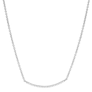 Fremada Rhodium-plated Sterling Silver Cubic Zirconia Bar Necklace (18 inch)