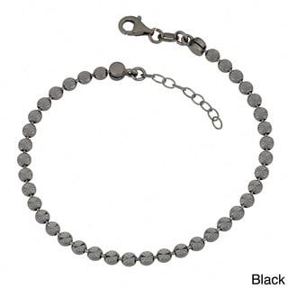 Fremada Sterling Silver Diamond-cut Bead Adjustable Bracelet (white, yellow, rose, or black)
