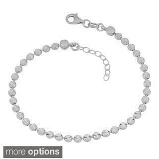 Fremada Sterling Silver Diamond-cut Bead Adjustable Anklet (white, yellow, rose, or black)