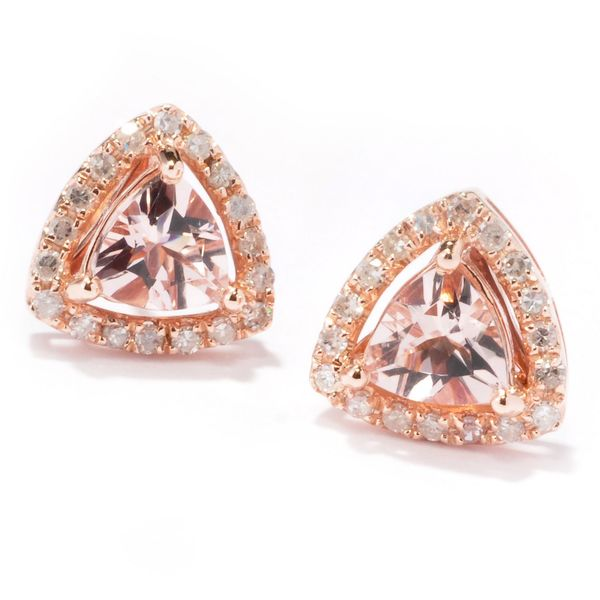14k Rose Gold 1/3 ctw Trillion Morganite and Diamond Stud Earrings (H-I, I1-I2)