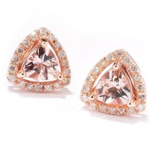 14k Rose Gold 1/3 ctw Trillion Morganite and Diamond Stud Earrings (H-I, I1-I2)