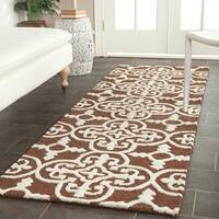 Safavieh Handmade Moroccan Cambridge Dark Brown/ Ivory Wool Rug - 2'6 x 6'