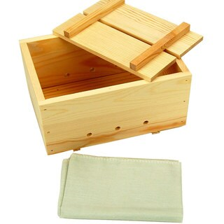 Large Wood Tofu Mold with Cheesecloth - Re-usable Wooden Tofu Press