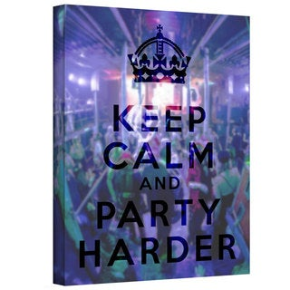 ArtWall Art D. Signer 'Keep Calm and Party Harder' Gallery-wrapped Canvas