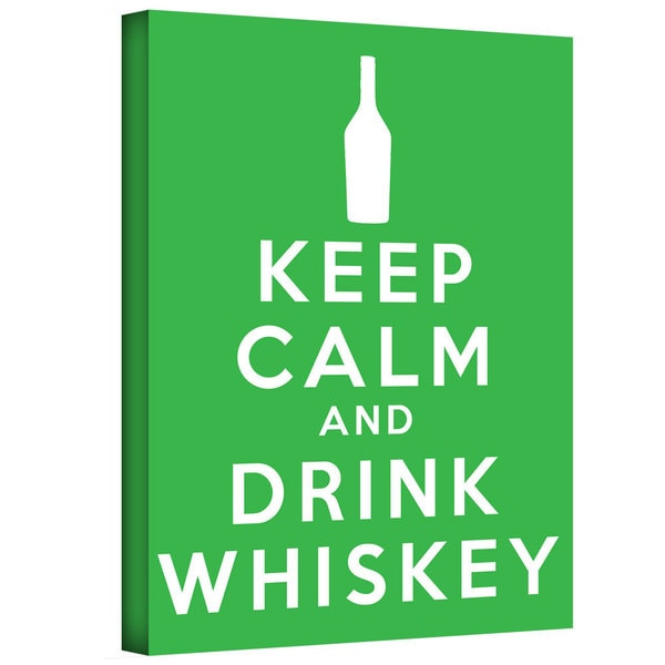 ArtWall Art D. Signer 'Keep Calm and Drink Whiskey' Gallery-wrapped Canvas Art