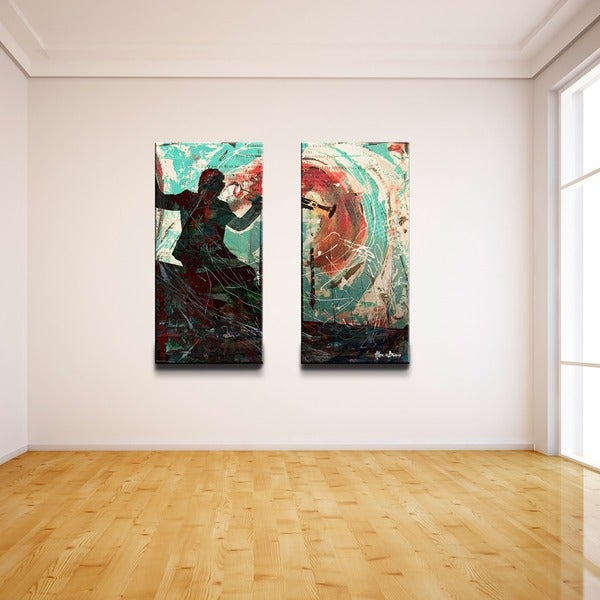2 Piece Canvas Wall Art ready2hangart 'the color of jazz xvii' oversized 2-piece canvas