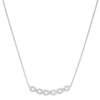 Fremada Rhodium-plated Sterling Silver Cubic Zirconia Triple Infinity Necklace (18 inch)