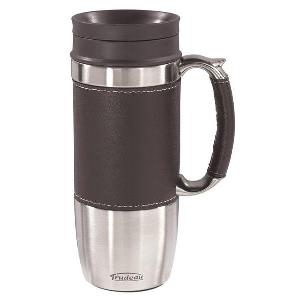 Trudeau 'Board Room' Brown Leak-proof 16-ounce Travel Mug