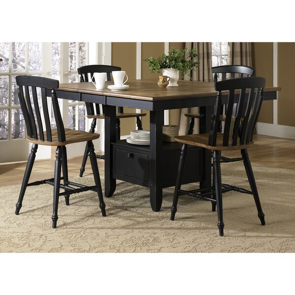Liberty 5-piece Driftwood and Black Casual Gathering Set