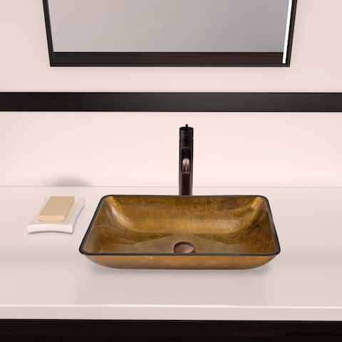 VIGO Rectangular Copper Glass Vessel Sink and Seville Faucet Set in Oil Rubbed Bronze