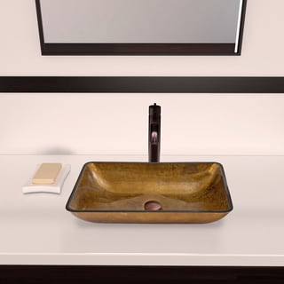 VIGO Rectangular Copper Glass Vessel Sink and Seville Faucet Set in Oil Rubbed Bronze