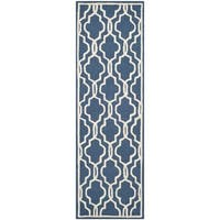 Safavieh Handmade Moroccan Cambridge Navy/ Ivory Wool Rug - 2'6 x 14'