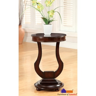 Furniture of America Dark Walnut Beltro Transitional Bell Shape Side Table