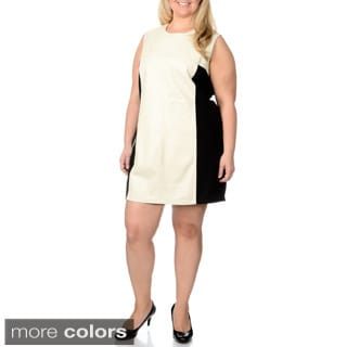 R & O Women's Plus Size Leather Panel Knit-back Dress