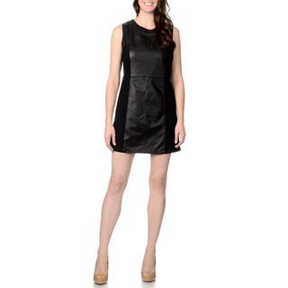 Excelled Women's Leather Panel Knit-back Sleeveless Dress