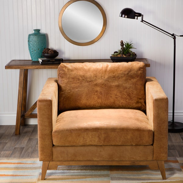 Filmore Oversized Tan Italian Leather Club Chair - Free ...