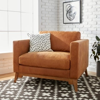 Filmore Oversized Tan Italian Leather Club Chair