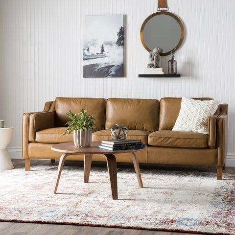 Jasper Laine Canape 86-inch Oxford Honey Leather Sofa