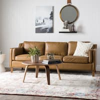 Jasper Laine Canape 86-inch Oxford Honey Leather Sofa
