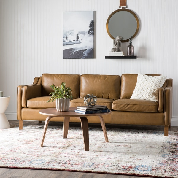 Shop Strick Bolton Canape 86 Inch Oxford Honey Leather Sofa Free