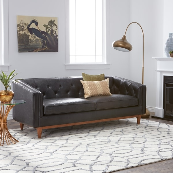 Shop Strick Bolton Natty Black Button Tufted Leather Sofa Free