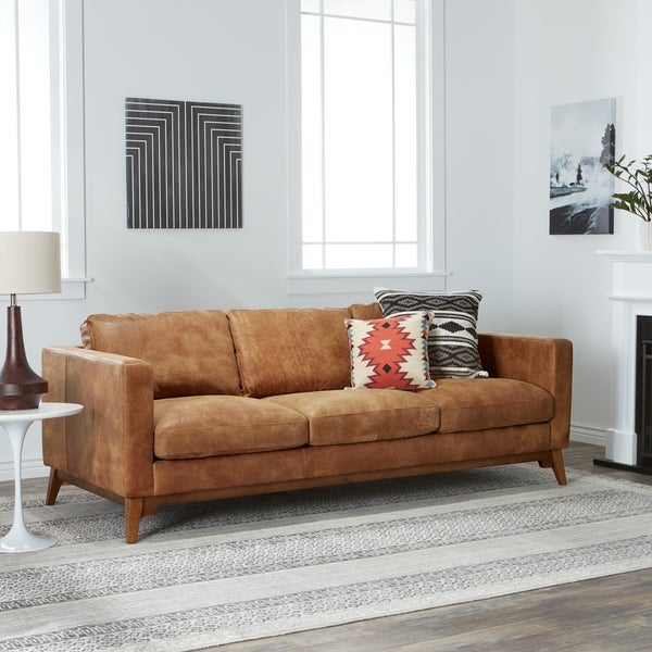 Captivating Carson Carrington Filmore 89 Inch Tan Leather Sofa