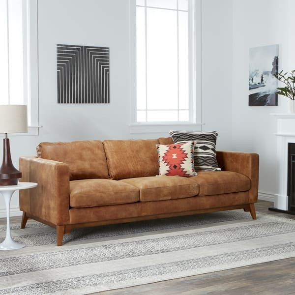 Terrific Shop Strick Bolton Filmore 89 Inch Tan Leather Sofa Free Dailytribune Chair Design For Home Dailytribuneorg