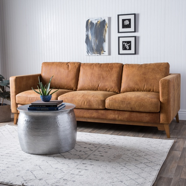 Filmore 89 Inch Tan Leather Sofa Free Shipping Today 1607