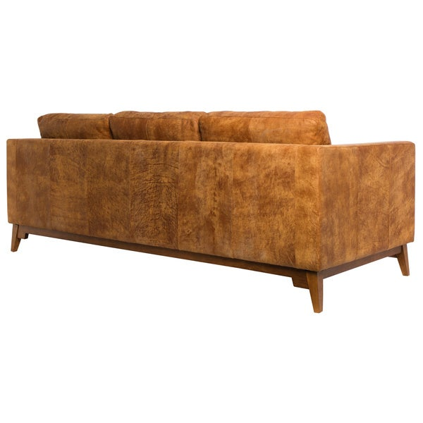 Filmore 89 Inch Tan Leather Sofa   Free Shipping Today   Overstock.com    16070449