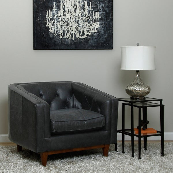 Natty Oversized Italian Black Leather Button Tufted Club Chair