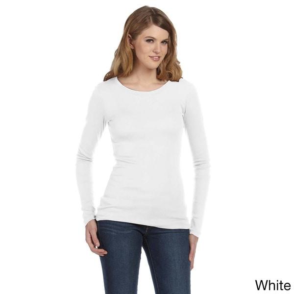Bella Women's Sheer Ribbed Long Sleeve Crew T-shirt