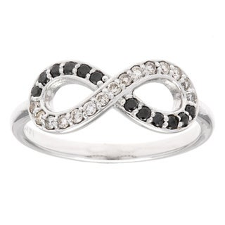 14k White Gold 1/3ct TDW Black and White Diamond Infinity Ring (G-H, SI1-SI2)