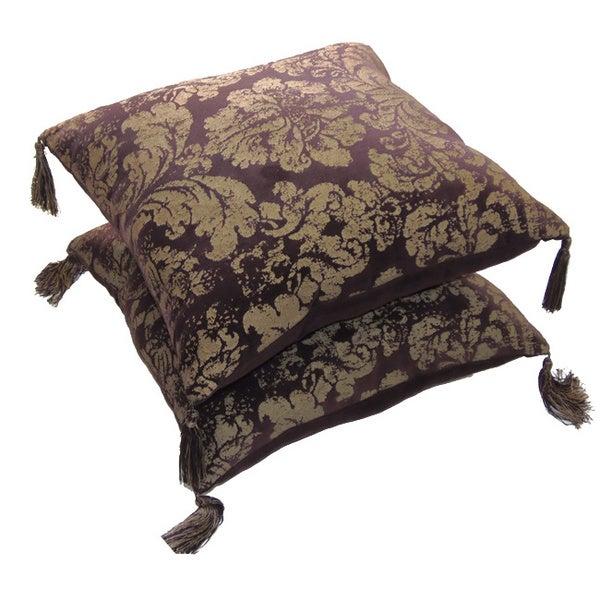 Celebration Bitter Chocolate Printed Velvet Decorative Pillow (Set of 2)
