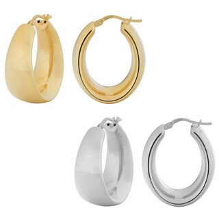 Fremada 18k Gold Over Sterling Silver Polished Electroform Oval Hoop Earrings