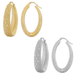 Fremada Women's 18k Gold over Sterling Silver Textured Electroform Hoop Earrings