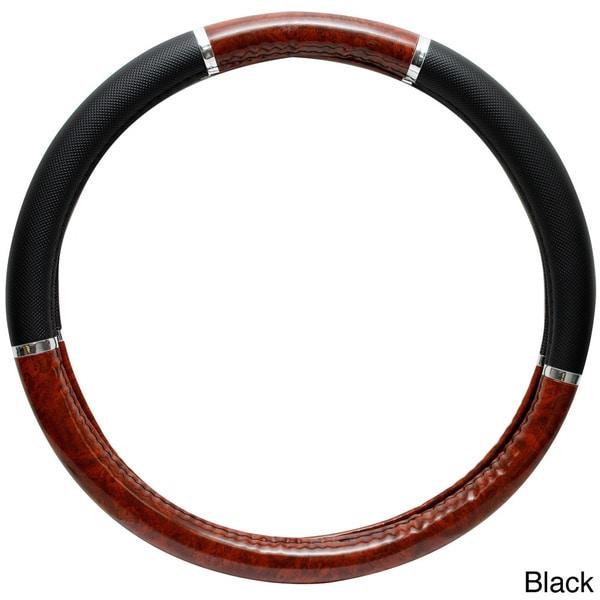 Oxgord Dark Wood Grain Rubber Steering Wheel Cover