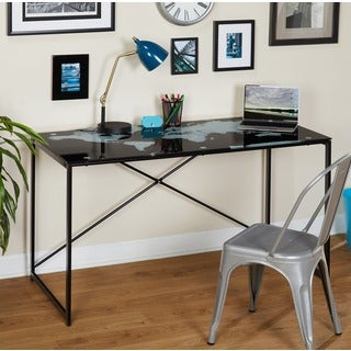 Simple Living World Map Black Desk