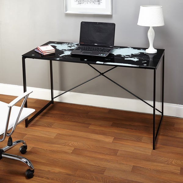 Simple Living World Map Black Desk - Free Shipping Today - Overstock