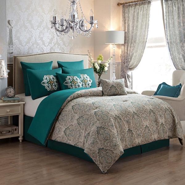 VCNY Radcliff' Jacquard Damask Print 8-piece Comforter Set