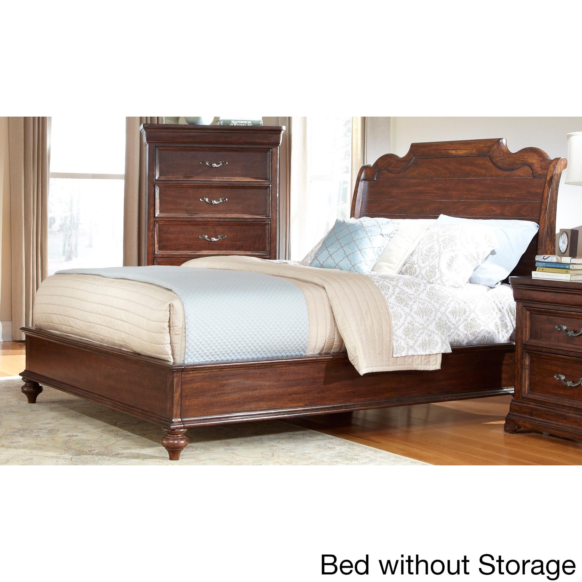 'Senator' Dark Brown Sleigh Bed with Optional Storage by ...