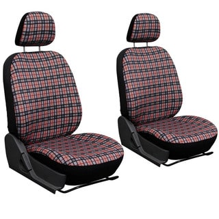 Oxgord Exquisite Plaid Checkered Bucket Seat Cover 2-piece Set