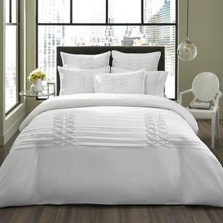 City Scene Diamond Pintuck White 3-piece Duvet Cover Set