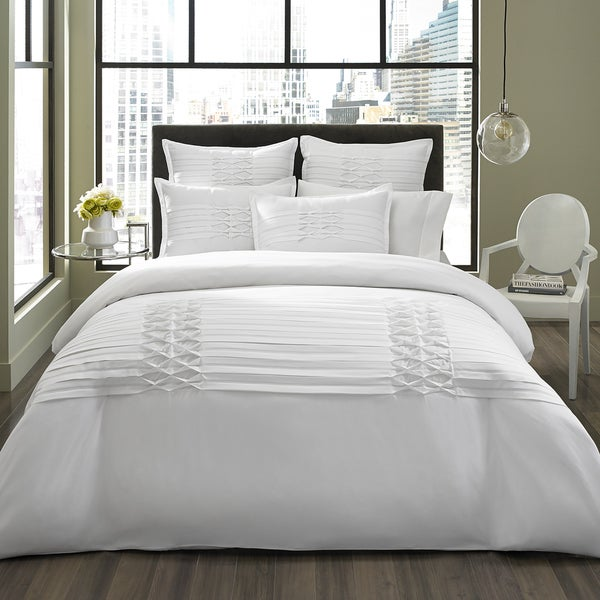 City Scene Diamond Pintuck White 3-piece Duvet Cover Set