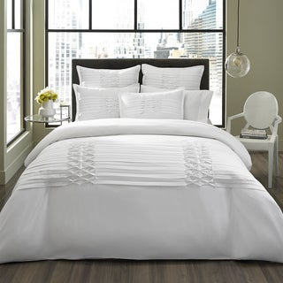 City Scene Diamond Pintuck White Microfiber 3-piece Duvet Cover Set