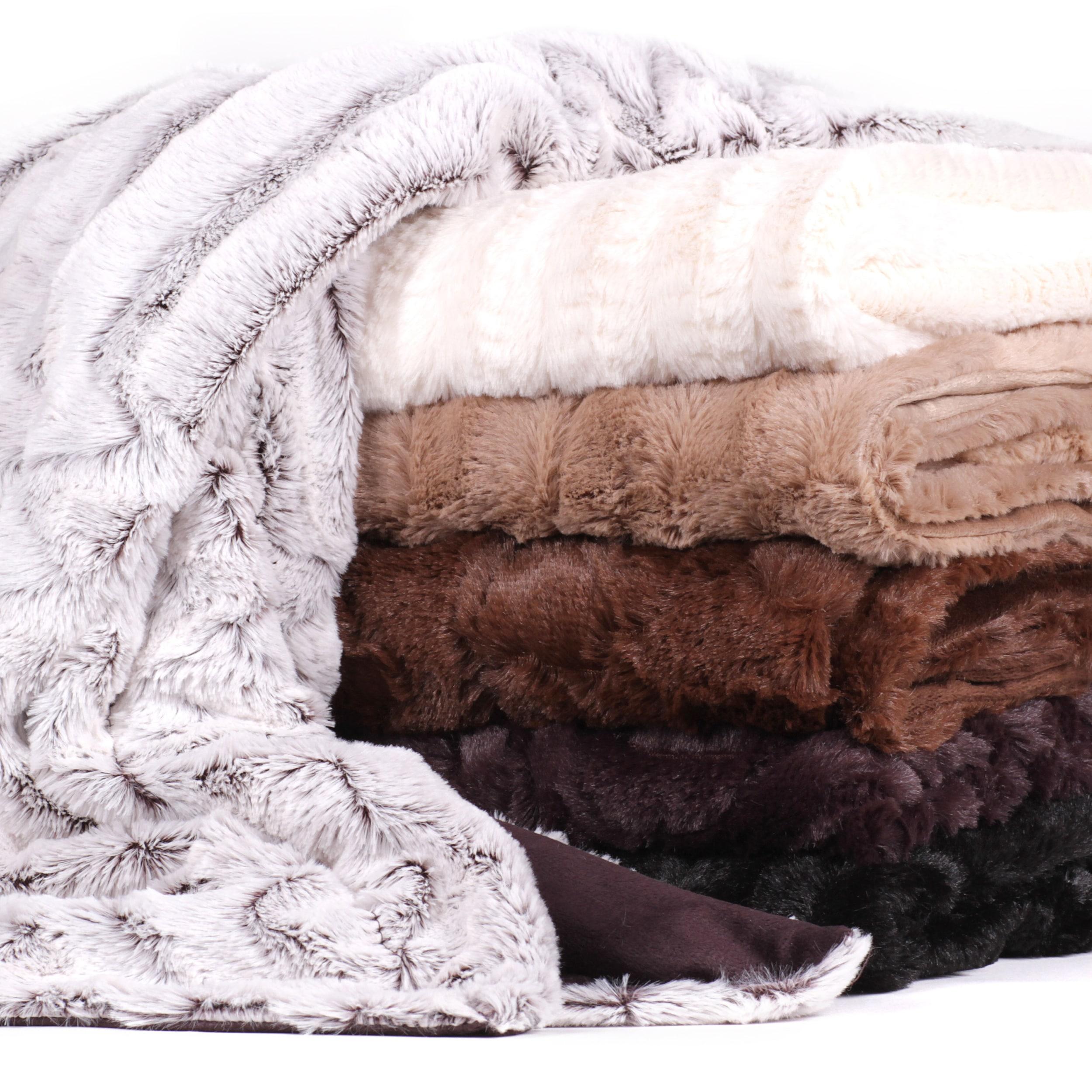 N Plush Reversible Mink Faux Fur Throw (Box, Ivory) (Poly...